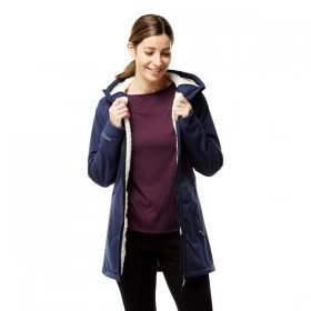 Women's Ingrid Long Hooded Jacket - Blue Navy
