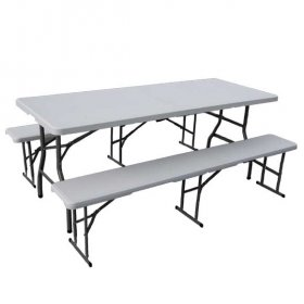 Plastic Table & 2 Benches